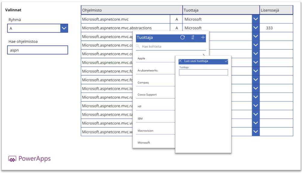 PowerAppsilla luot applikaation ilman koodia: Case SQL-taulun ylläpito
